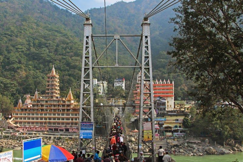 rishikesh jhula Индии моста lakshman стоковые изображения rf
