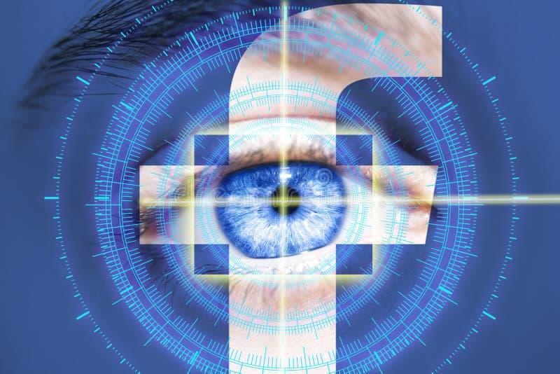 RISHON LE锡安,以色列2018年3月28日:眼睛通过Facebook商标看 未来派视觉科学 免版税图库摄影
