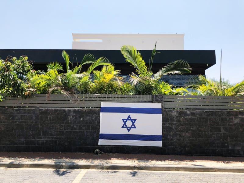 RISHON LE ZION, drapeau national de l'ISRAËL - 27 juin 2018 Israël, qui est une barrière de propriété privée en Rishon Le Zion, I photographie stock