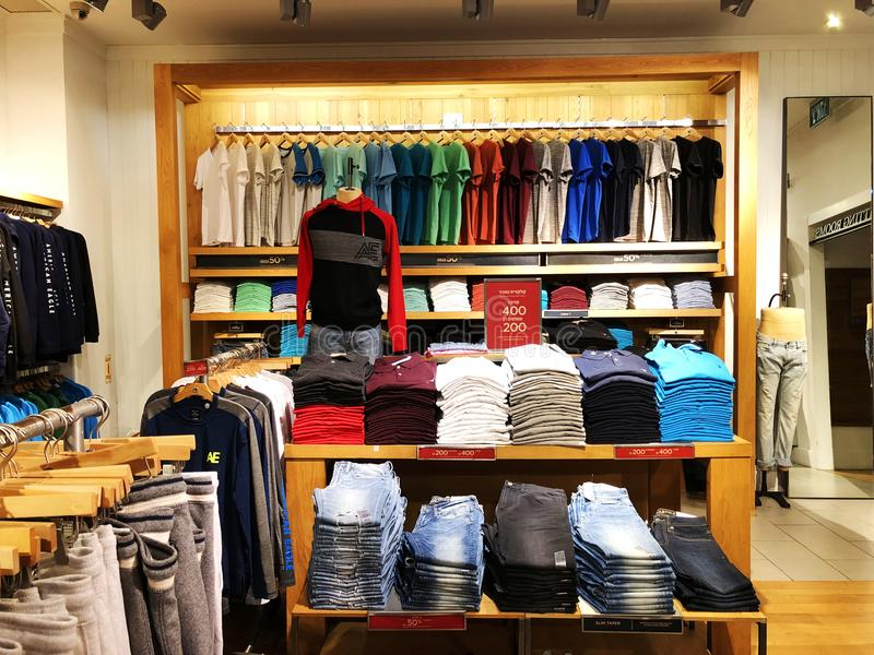 RISHON LE ZION, ISRAEL- DECEMBER 29, 2017: Modern clothes in a shop on a hanger. royalty free stock photos