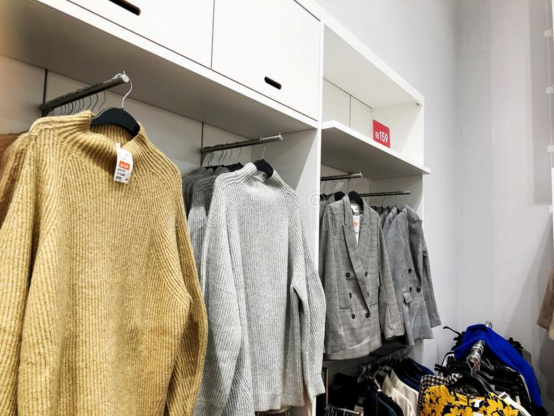 RISHON LE ZION, ISRAEL- DECEMBER 17, 2017: Modern clothes in a shop on a hanger. royalty free stock photo