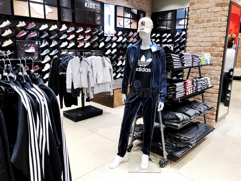 RISHON LE ZION, ISRAEL- DECEMBER 17, 2017: Modern clothes in a shop on a hanger in the shopping center in Rishon Le Zion, Israel. royalty free stock images