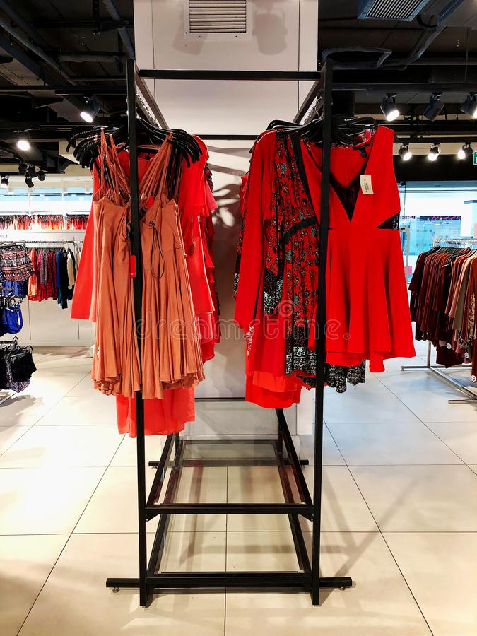 RISHON LE ZION, ISRAEL- JANUARY 12, 2018: Modern clothes in a shop on a hanger. stock image