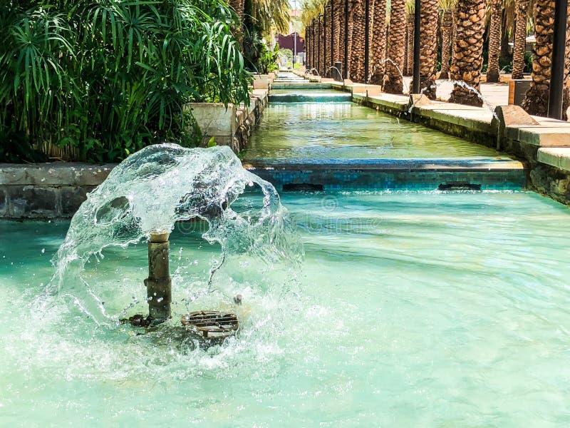 RISHON LE ZION, ISRAEL -JUNE 18, 2018: Fountains in city park in Rishon Le Zion, Israel. royalty free stock photography