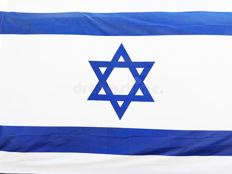 RISHON LE ZION, ISRAEL - June 27, 2018 Israel`s national flag in Rishon Le Zion, Israel.  royalty free stock image