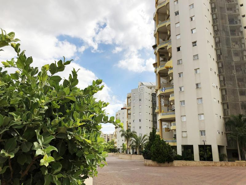 RISHON LE ZION, ISRAEL  October 07, 2019: Residential buildings and plants in Rishon Le Zion, Israel.  royalty free stock photo