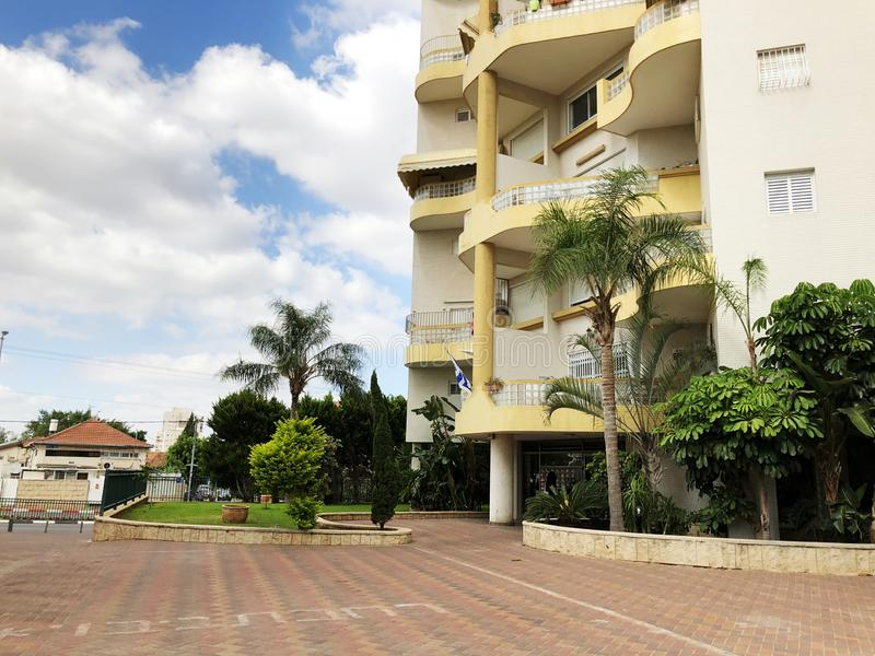 RISHON LE ZION, ISRAEL  October 07, 2019: Residential buildings and plants in Rishon Le Zion, Israel.  royalty free stock images