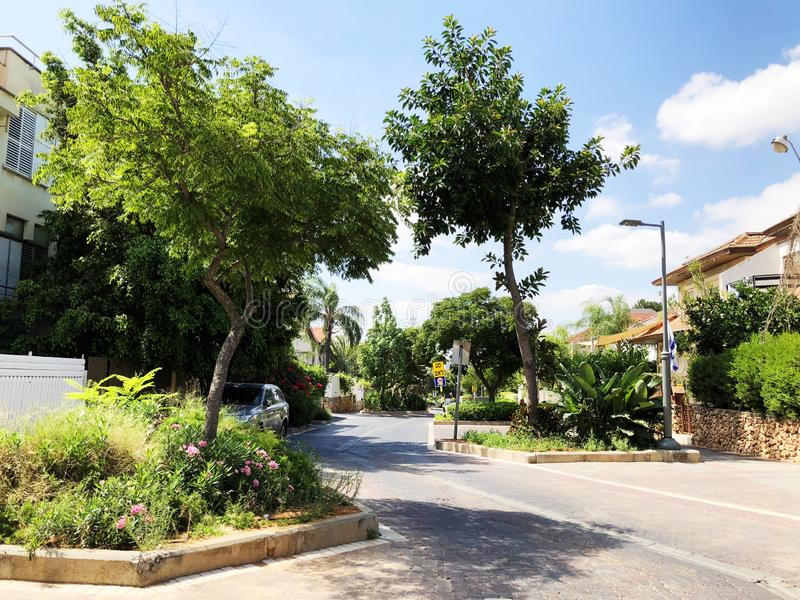RISHON LE ZION, ISRAEL  October 07, 2019: Residential buildings, plants and streets in Rishon Le Zion, Israel stock photography