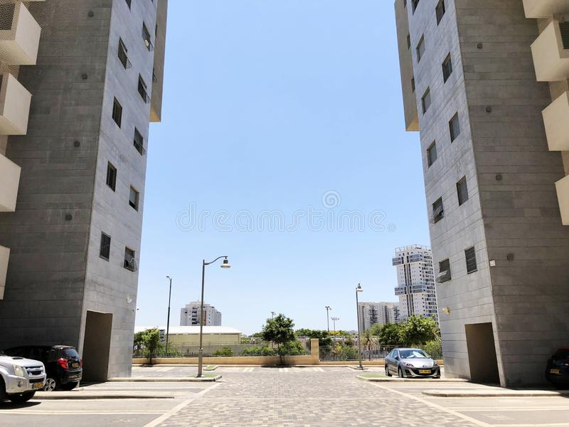 RISHON LE ZION, ISRAEL  October 07, 2019: Residential buildings, plants and streets in Rishon Le Zion, Israel stock photo