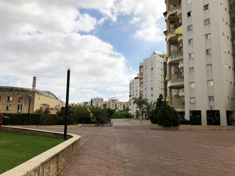 RISHON LE ZION, ISRAEL  October 07, 2019: Residential buildings, plants and streets in Rishon Le Zion, Israel.  royalty free stock photo