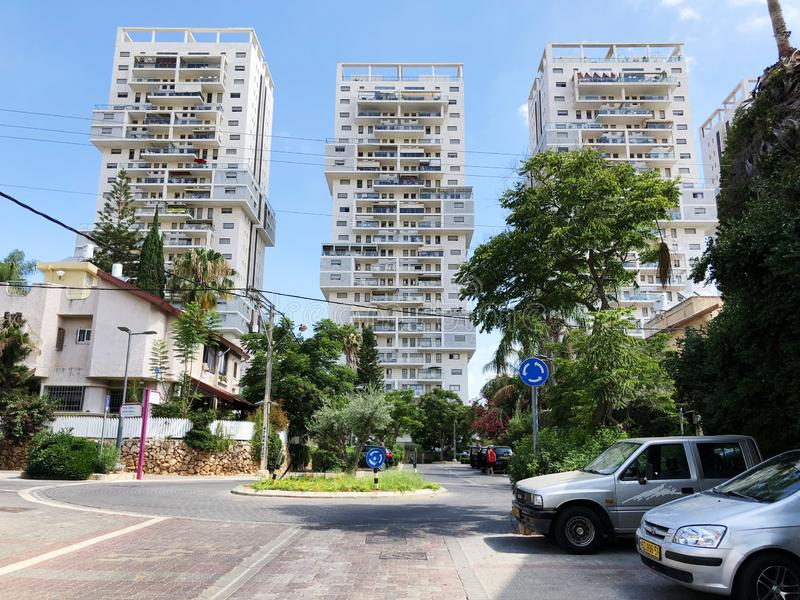 RISHON LE ZION, ISRAEL  October 07, 2019: Residential buildings, plants and streets in Rishon Le Zion, Israel.  stock photo