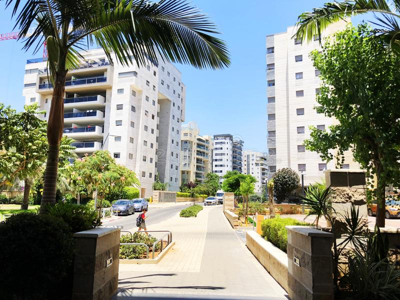 RISHON LE ZION, ISRAEL  October 07, 2019: Residential buildings, plants and streets in Rishon Le Zion, Israel.  royalty free stock image