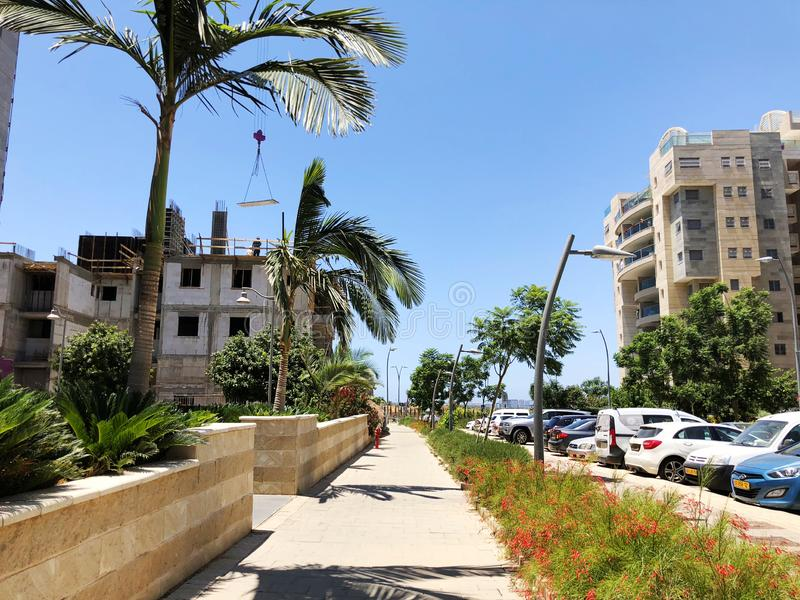 RISHON LE ZION, ISRAEL  October 07, 2019: Residential buildings under construction in the streets of Rishon Le Zion, Israel royalty free stock photography