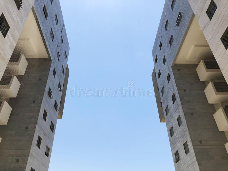 RISHON LE ZION, ISRAEL  October 07, 2019: Residential buildings  view from the bottom  in Rishon Le Zion, Israel.  stock image