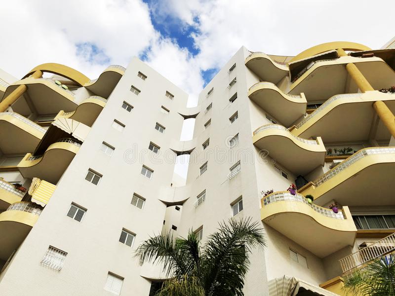 RISHON LE ZION, ISRAEL  October 07, 2019: Residential buildings  view from the bottom  in Rishon Le Zion, Israel.  stock photo