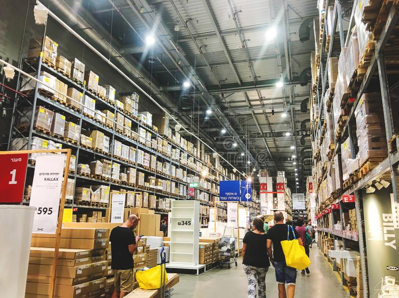 RISHON LE ZION, ISRAEL - OCTOBER 4, 2017: Warehouse aisle in an IKEA store. stock photos