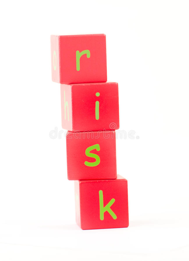 Risico dat in brieven wordt beschreven stock afbeeldingen