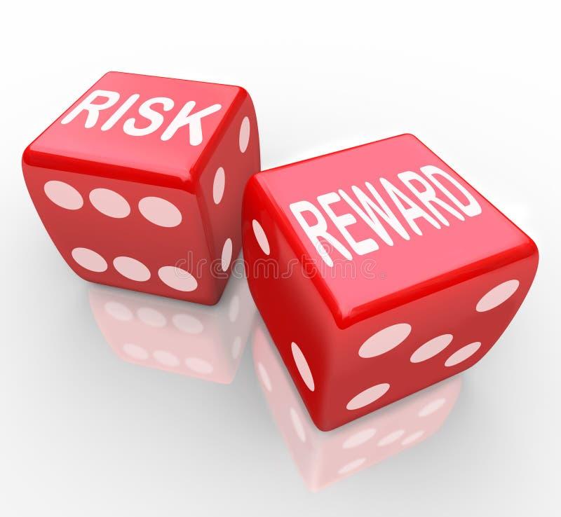 Risico en Beloning - Woorden op Dice royalty-vrije illustratie