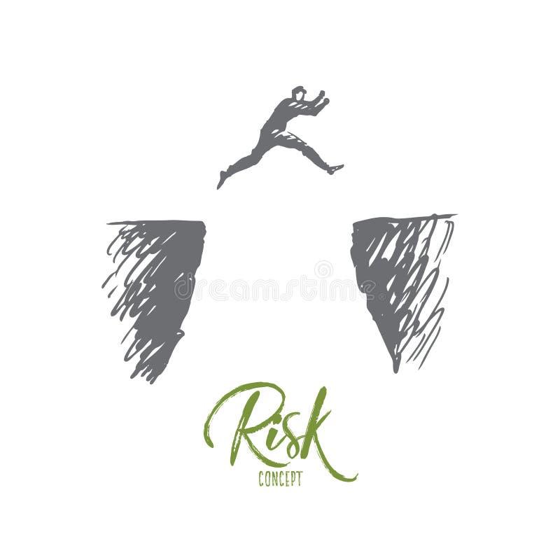 Risico, gevaar, zaken, uitdaging, persoonsconcept Hand getrokken geïsoleerde vector stock illustratie