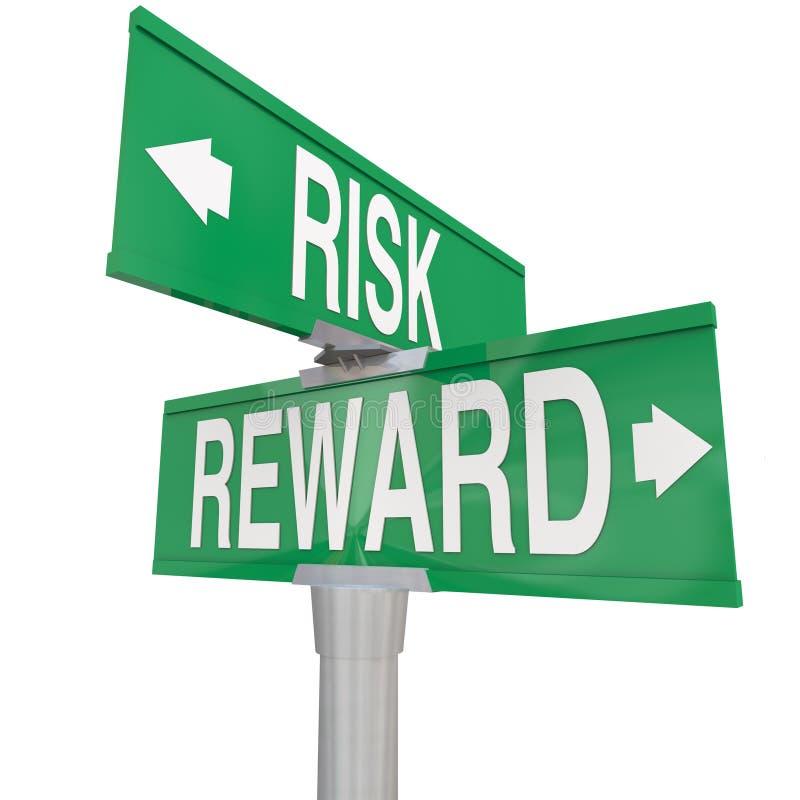 Risico versus Beloning Twee 2 de Straattekens ROI Investment van de Manierweg vector illustratie