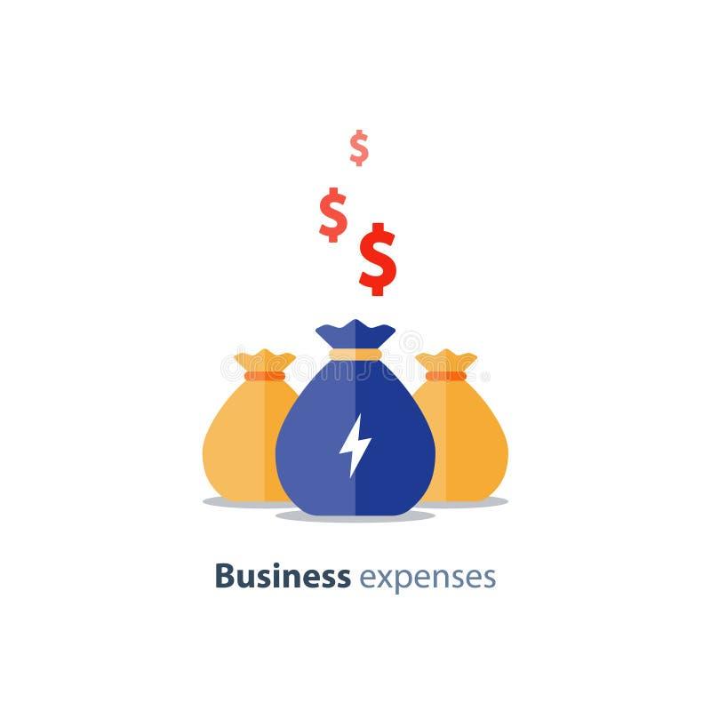 Risicodragend kapitaal, liefdadigheidsinstellingsconcept, bedrijfslening, bedrijfuitgaven, beleggingsmaatschappij, vectorpictogra royalty-vrije illustratie