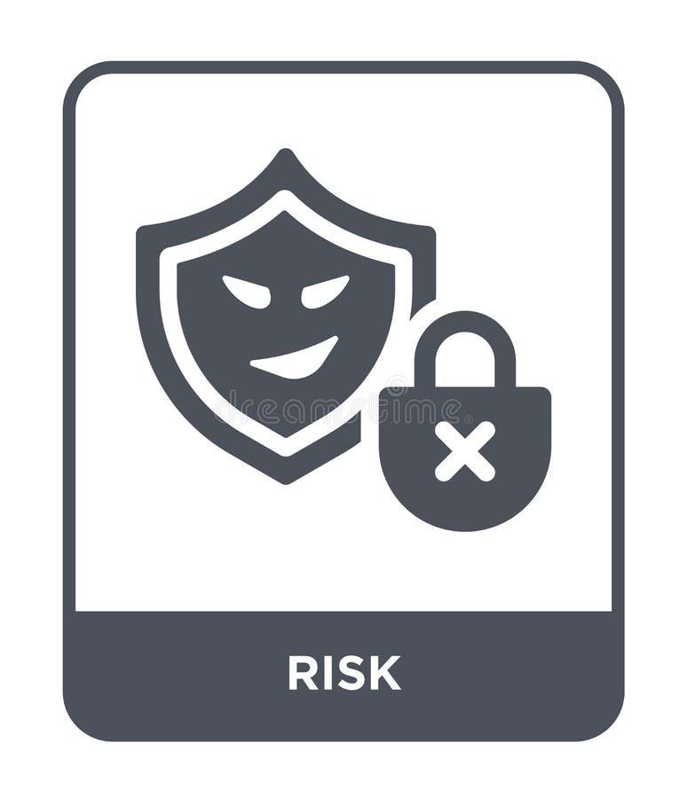 risicopictogram in in ontwerpstijl Risicopictogram op witte achtergrond wordt geïsoleerd die eenvoudige en moderne vlakke symbool vector illustratie