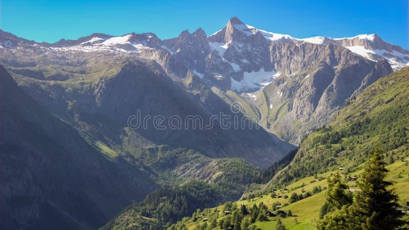 Risihorn op de duidelijke zomer dag Valais, Zwitserland royalty-vrije stock afbeelding
