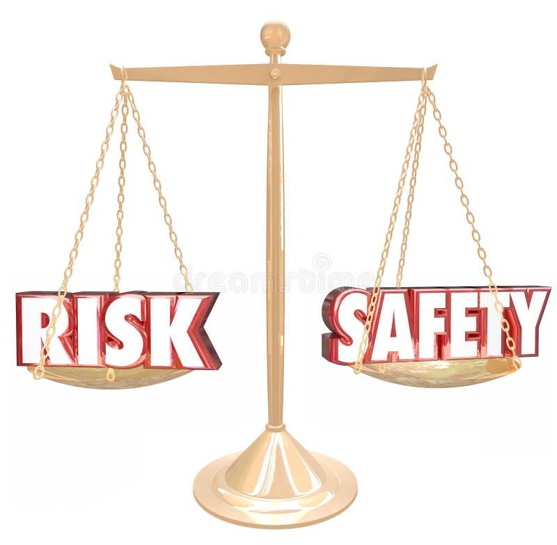 Risiko gegen die Sicherheits-Wort-Balancen-Skala, die Gefahrenwahlen vergleicht lizenzfreie abbildung