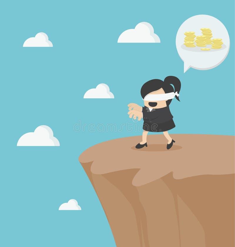 Risiko im Geschäft mit blindem Geschäftsmann lizenzfreie abbildung