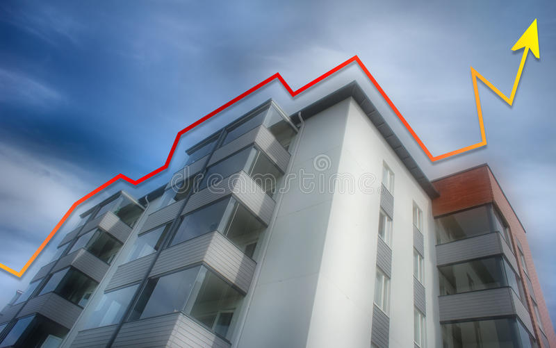 Rising apartment prices. Indicated by an upward pointing arrow stock photo
