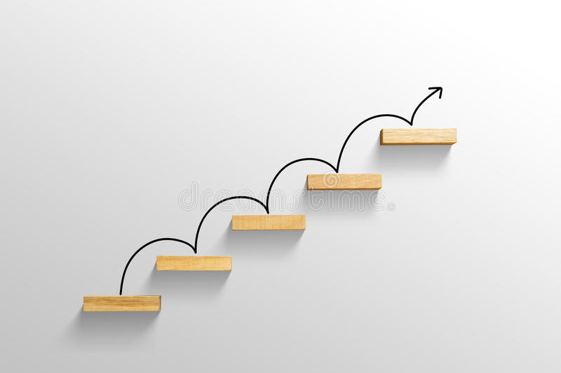 Rising arrow on staircase, increasing business. Rising arrow on staircase, increasing and growth business royalty free stock image