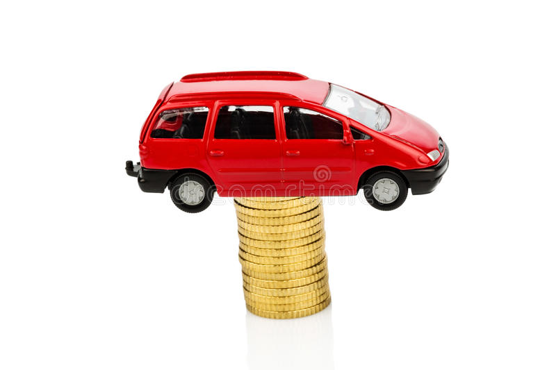 Rising car costs. car on coins. Increasing costs for the car through workshop costs royalty free stock image
