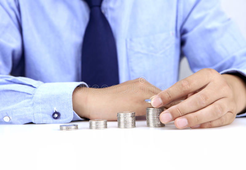 Rising coins stock photo