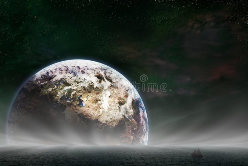 Rising Earth. Earth rising over a sea. A small boat on the water