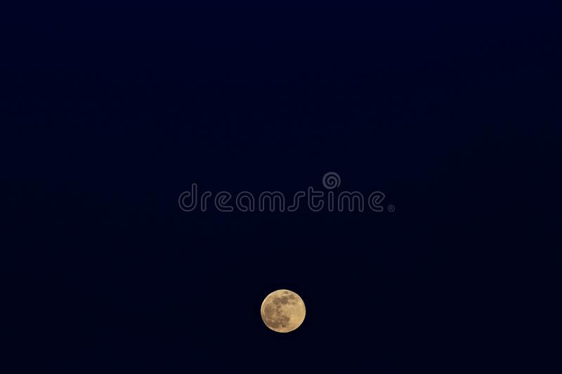 The rising of the full moon. Sunset time in the twilight sky.  royalty free stock image