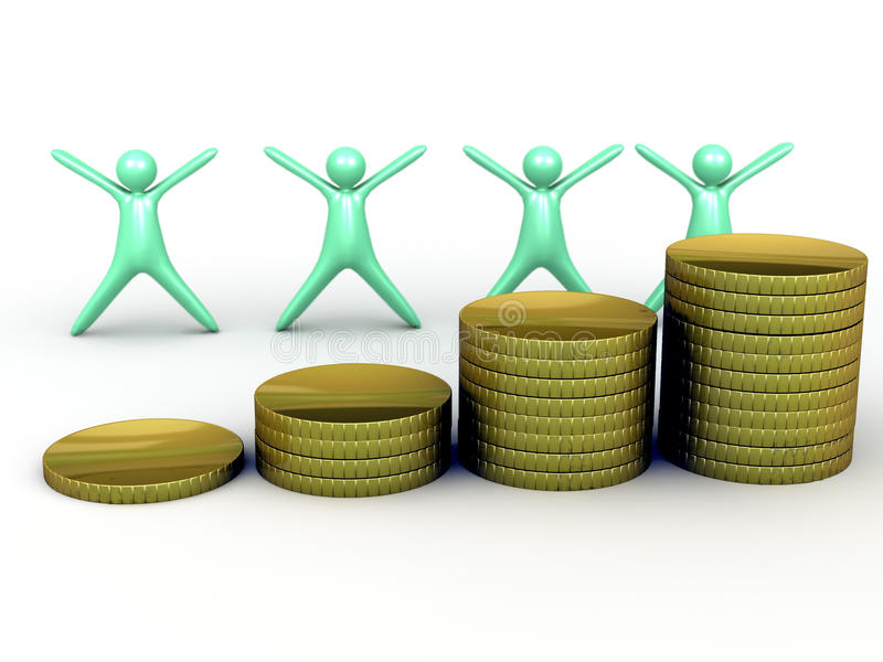 Rising gold coin stack royalty free illustration