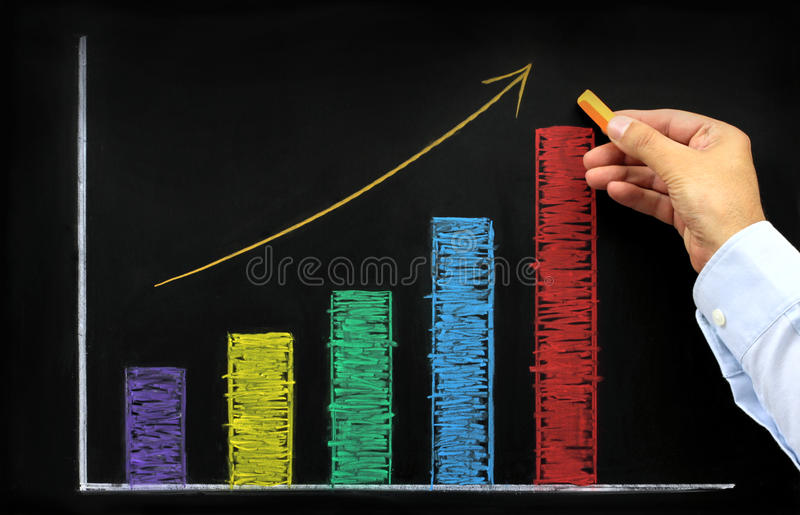 Rising graph with colorful chalk. On blackboard royalty free stock photo