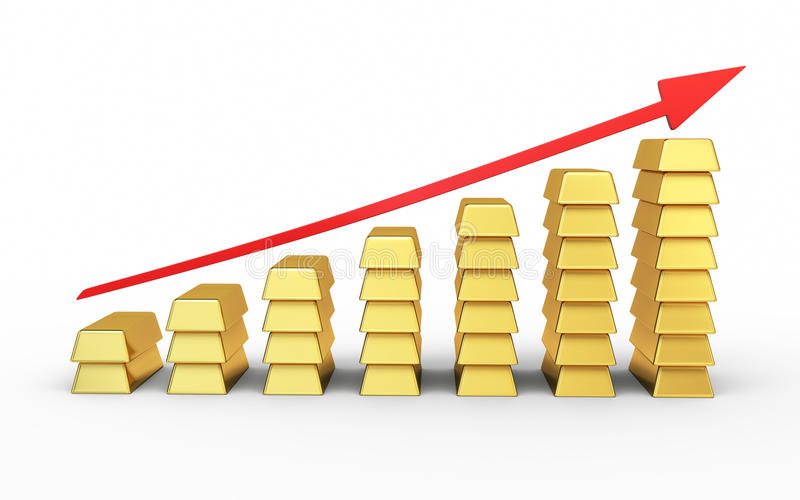 Rising graph of gold stock images