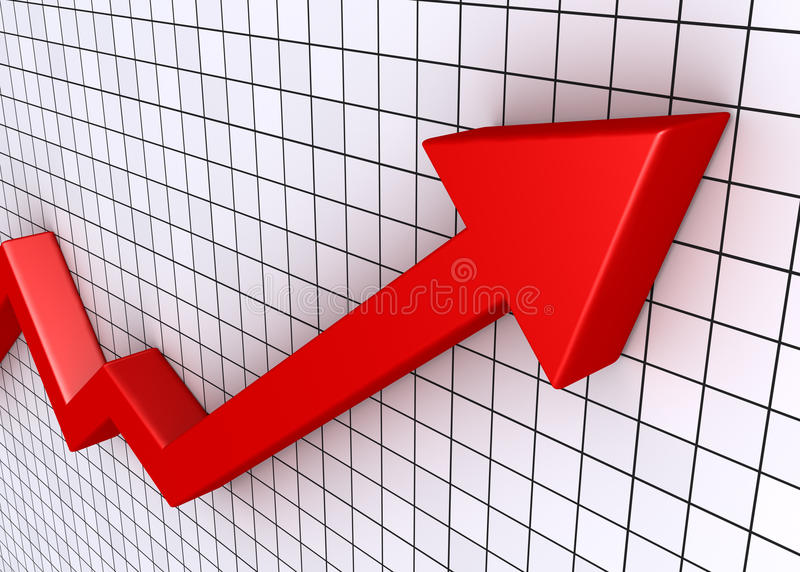 Rising graph with grid. A red rising graphic chart with arrow and grid vector illustration