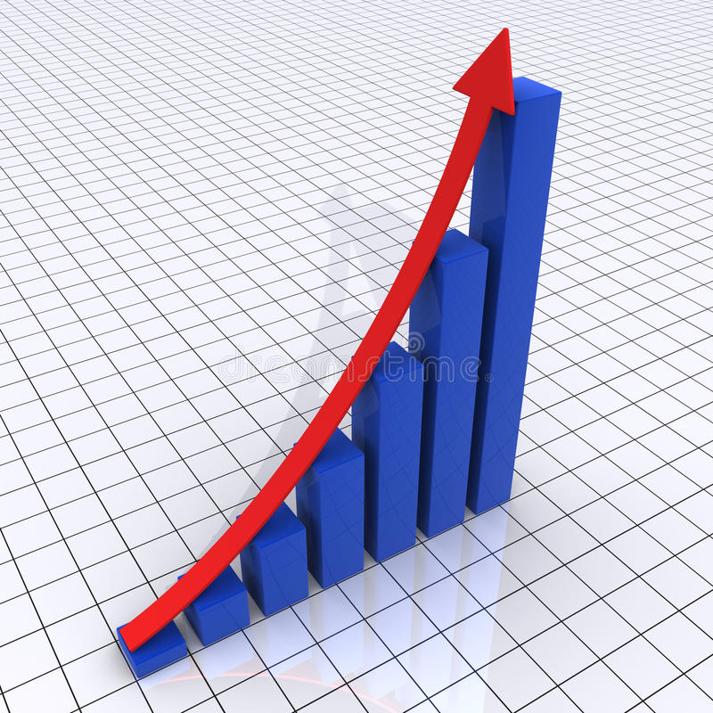 Rising Graphic Chart Of Columns And Arrow Stock Photo