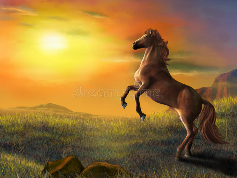 Download Rising horse stock illustration. Illustration of beast - 18787101