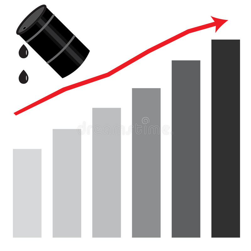 Rising oil price graph chart royalty free illustration