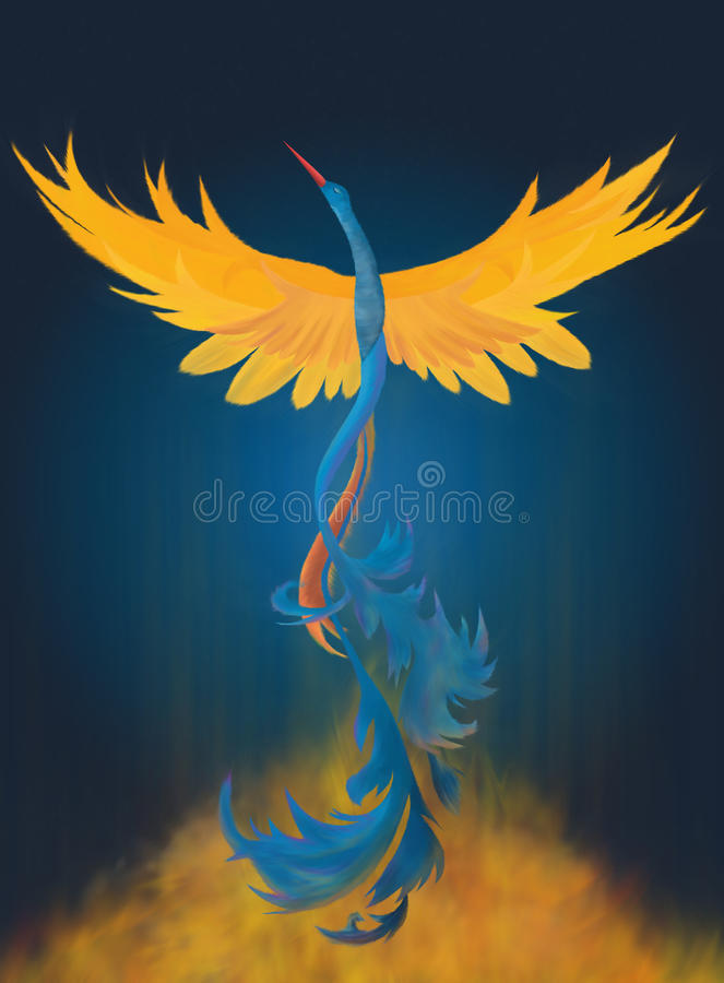 Rising Phoenix Digital Painting royalty free illustration