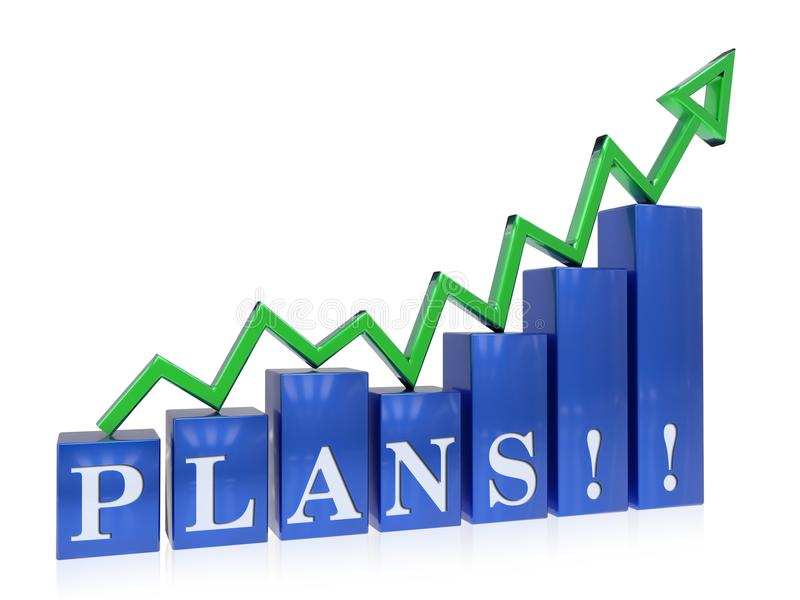 Rising plans graph. 3d rendered rising plans graph , isolated on white background stock illustration