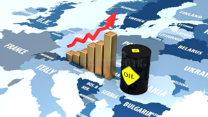 Rising prices in the European market. Oil rises in price on news. vector illustration