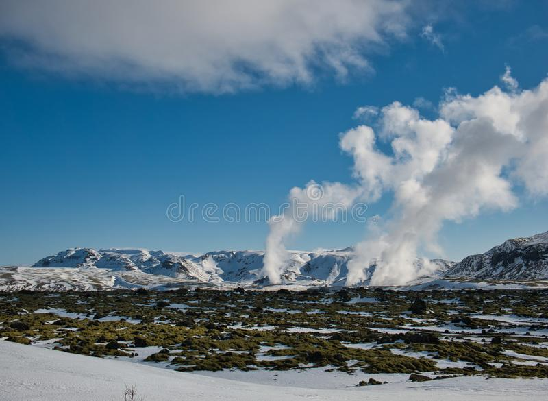 The rising steam from a thermal power plant stock images