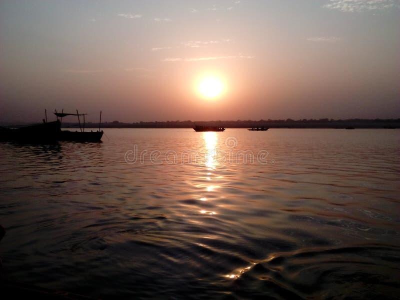 Rising of sun. Arising of sun in River of Ganga stock photography