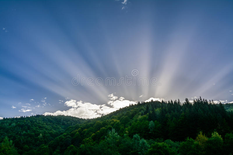 Rising sun on a background of the mountains. Horizontal colorful. Landscape of nature in the morning royalty free stock image