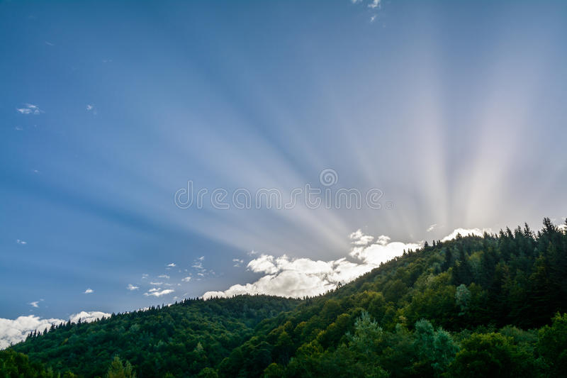 Rising sun on a background of the mountains. Horizontal colorful. Landscape of nature in the morning royalty free stock photos