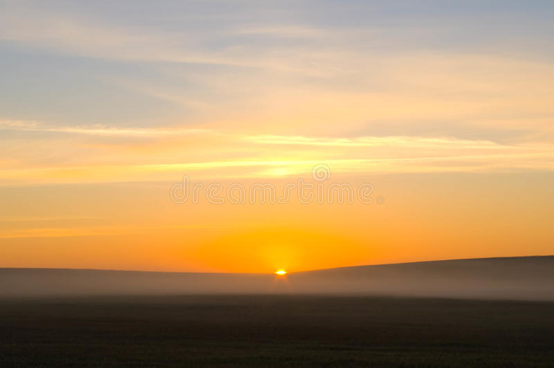 Rising sun beams. Meadow in a fog and in rising sun beams royalty free stock photo